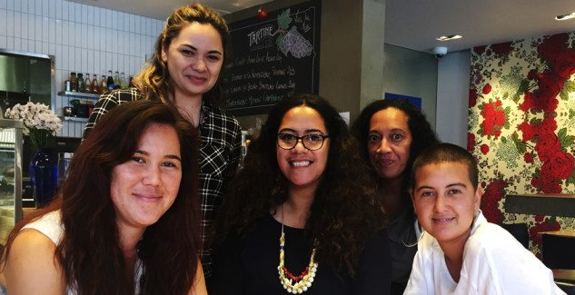 CNZ Pasifika Internship recipients (left to right) Jodi Meadows, Jasmine Te Hira, Bonni Tamati, Joy Vaele and Faith Wilson.